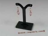 spe113 Sterling faceted pink crystal beads and pearl dangle Earring