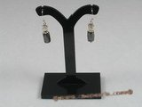 spe116 Sterling black magnetic beads and pearl dangle Earring