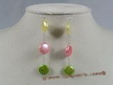 spe118 Sterling Chain & multi-color coin pearl dangle Earring