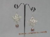 spe129 925silver star design dangle earring with purple tear-drop pearl