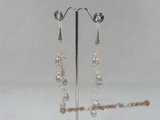 spe131 6-7mm grey tear-drop pearl 925silver horn dangle earrings