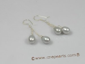 spe132 6-7mm grey tear-drop pearl 925silver dangle earrings