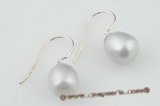 spe133 6-7mm grey tear-drop pearl 925silver dangle earrings in wholesale