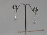 spe136 grey cultured pearl sterling hoop earrings for wholesale