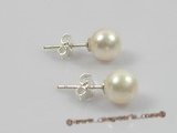 spe137 sterling studs Earring with 7-8mm white round  pearl