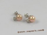 spe146 sterling crystal rhinestones & bread pearl studs  earrings on sale
