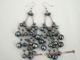 spe153 Black cultured pearl chandelier 925 silver earrings wholesale
