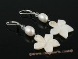 spe157 French clip White Pearl and carve shell leverback Earrings