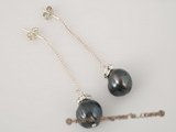 spe180 sterling silver and 9.5-10.5mm black whorl potato pearl dangle earrings