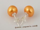 spe188 Golden 9-9.5mm freshwater bread pearl stud earrings on sale