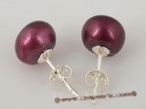 spe190 Sterling silver 9-9.5mm wine red freshwater bread pearl stud earring jewelry