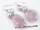 spe197 Pink baroque crystal and pearl dangle pearl earrings with 925silver ear hook
