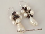 spe213 wholesale 9-10mm baroque pearl with garnet beads dangle earrings