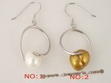 spe216 wholesale Cultured whorl potato pearl sterling silver Pierced dangle Earrings