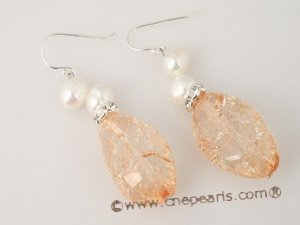 spe218 Orange baroque crystal and pearl dangle pearl earrings with 925silver ear hook