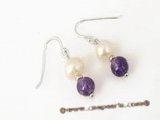 spe219 white potato pearl and amethyst dangle earrings with sterling silver hook