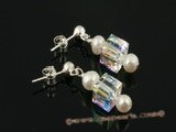 spe226 Genuine Freshwater Pearl & clear square Austria Crystal Stud Earrings