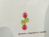 spe231 Sterling silver dangle earrings with wine red whorl pearl and crystal beads
