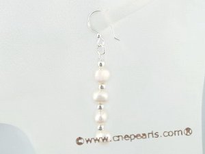 spe245 wholesale sterling white potato pearl dangle Earrings
