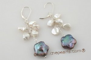 spe263 Coin pearl and keshi pearl sterling silver lever back earrings