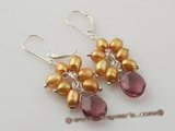 spe266 Delightful champagne rice pearl and crystal lever back dangle earrings