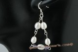spe285 charming 925silver pearl & Austria crystal hook earring in triangle design