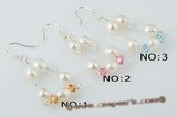 spe286 Sterling silver pearl & Austria crystal triangle dangle earring