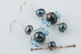 spe288 Pattern pierced 925silver potato pearl and crystal hook earrings