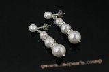 spe298 Gradual white round shell pearl 925silver stud Earrings
