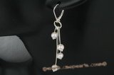 spe300 Four dangling potato Pearl sterling silver D hoop earring