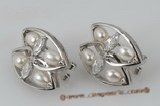 spe301 Wholesale Sterling silver seed pearl pierce clip earrings