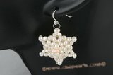 spe310 Delightful sterling silver pentacle rice pearl dangle earrings
