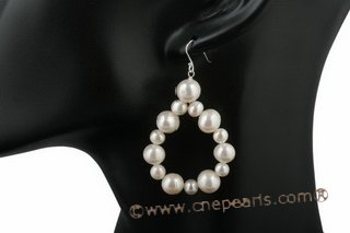 spe320 6-7mm and 9-10mm potato pearl oval loop dangle earrings