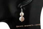 spe321 Lover sterling silver potato pearl and coin pearl dangle earrings