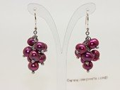 spe324 Sterling siver 5-6mm wine red potato pearl hook earrings