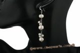 spe326 White Freshwater Pearl Cluster Linear Drop Pierced Earrings