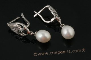 spe331 Sterling silver 7-8mm oval drop pearl pierce clip earrings