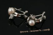 spe336 Sterling silver 6-6.5mm bread pearl pierce clip earrings