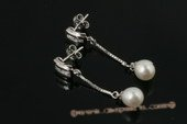spe340 Sterling Silver Freshwater Drop Pearl and Zircon Stud Earrings