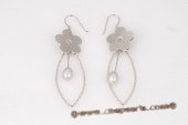 spe346 925Silver 6-7mm grey Tear Drop Pearl Dangle Earrings