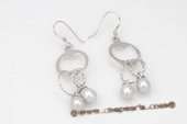 spe378 Designer Sterling Silver 6-7mm Grey Oval drop Pearl Dangle Earrings