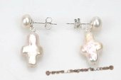 spe394 Sterling Silver Bread Pearl and Cross Pearl Dangle Stud Earrings