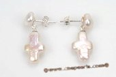 spe395 Sterling Silver Cross Keshi Pearl Dangle Stud Earrings