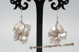 spe402 11-13mm white color coin pearl cluster earrings