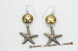 spe403  golden coin pearl earring with antiqued silve plated starfish