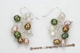 spe404 mix color freshwater pearl earring in sterling silve