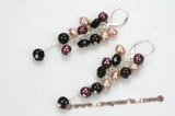 spe405 sterling silver Smokey Quartz stones with freshwater pearl earring