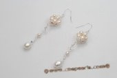Spe410 Delightful Sterling Silver Cultured pearl and Crystal Dangle Earrings