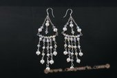 spe419 Dazzling Potato Pearl and Crystal Sterling Silver Chandelier Earrings