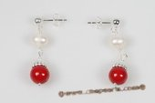 Spe428 Latest Cultured Pearl & Coral Pierce Earrings in Sterling Silver